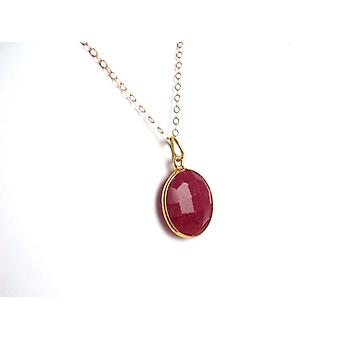 Red Ruby gemstone necklace Ruby necklace gold plated