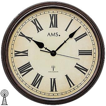 AMS 5977 wall clock radio radio controlled wall clock analog round antique vintage retro