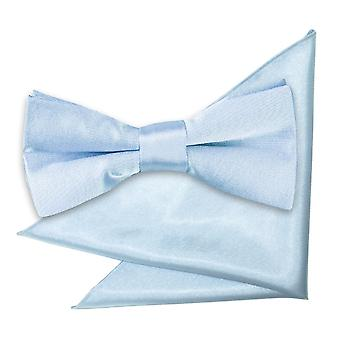 Baby Blue Plain Satin Bow Tie & Pocket Square Set for Boys
