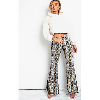 IKRUSH Womens Steffi High Waist Flare Velour Trousers