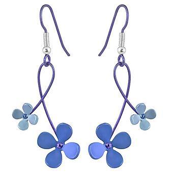 Ti2 Titanium 30mm dobbelt dråbe fire Petal blomst øreringe - blå