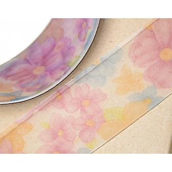Lilac & Blue Floral Pattern Organza Ribbon for Crafts - 38mm x 25m