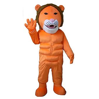 mascot SPOTSOUND of orange, white and Brown, very original and colorful lion