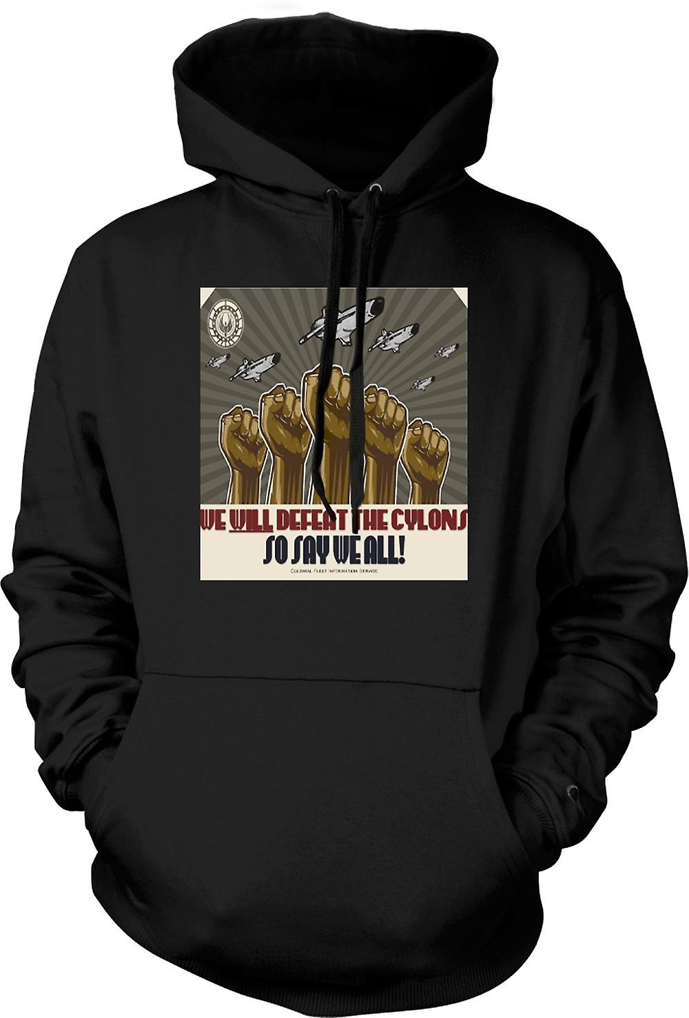 Mens Hoodie - Battlestar Gallactica Defeat Cyclons