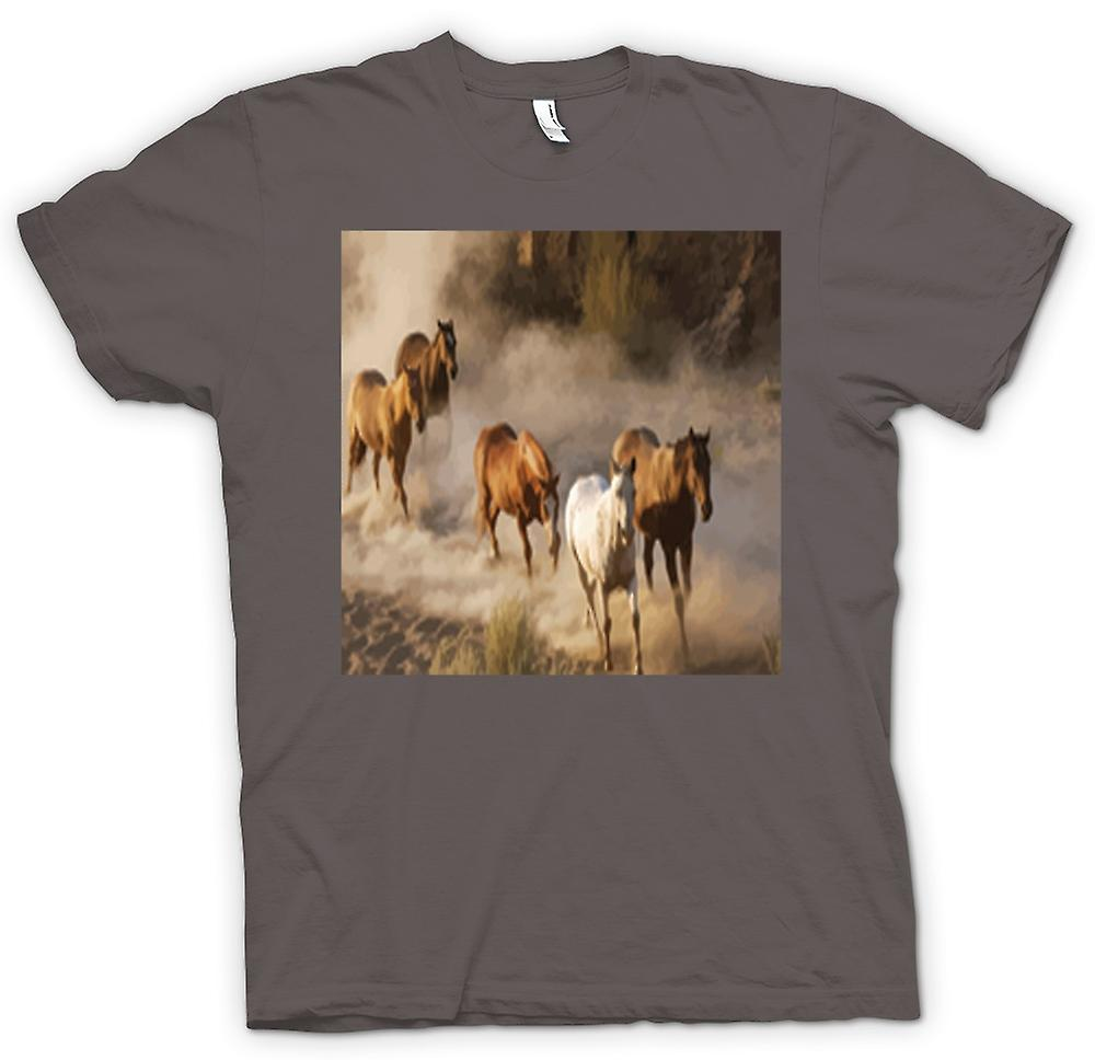Womens T-shirt - Stampeding Horses Prairie Design