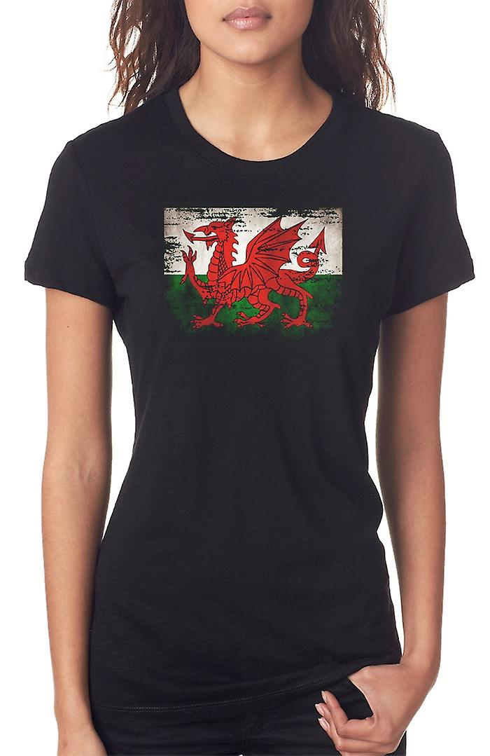 Wales Welsh Grunge Flag Ladies T Shirt