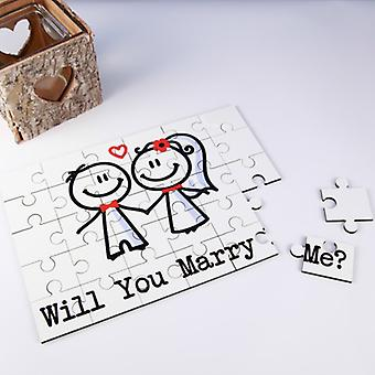 Will You Marry Me Cartoon Stick People Jigsaw