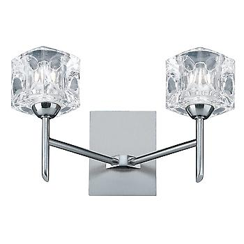 Searchlight 4342-2 Modern Satin Silver Ice Cube 2 Light Wall Bracket
