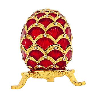 TOC Small Red Faberge-Style Egg Trinket Jewellery Box