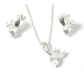 Toc Sterling Silver Cz Fancy Pendant and Earrings Set with 18 Inch Chain