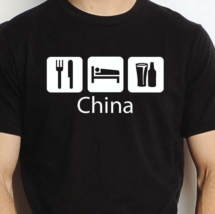 Eat Sleep Drink China Black Hand Printed T shirt China Town