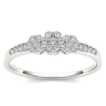IGI Certified 10k Solid WHITE Gold 0.2 Ct Diamond Cluster Engagement Ring