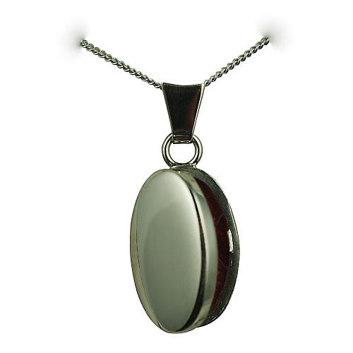 9ct White Gold 18x11mm plain oval Locket with a curb chain