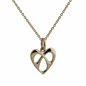 9ct Gold 16x15mm entwined Heart Pendant with a cable Chain 20 inches