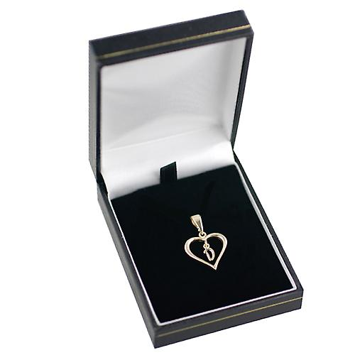 9ct Yellow Gold 18x18mm heart with a hanging Initial D