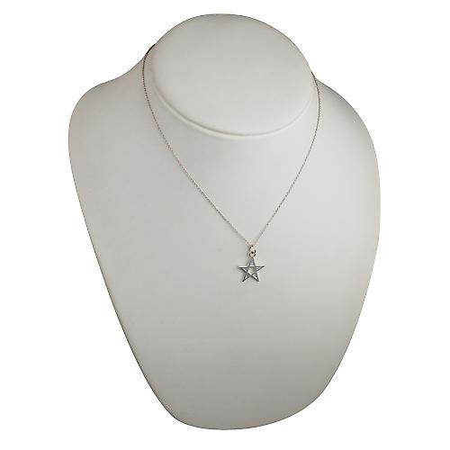 Silver 19x19mm plain Pentangle Pendant with a rolo chain