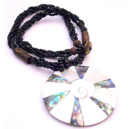 Shiva Eye Shell Round Pendant Black Multi Stranded Beaded Necklace