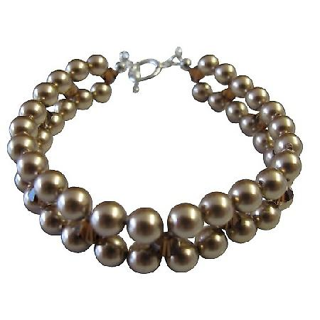 Handcrafted Jewelry Interwoven 3 stranded Bronze Pearl Bridal Bracelet