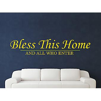 Bless This Home Wall Art Sticker - Dark Yellow