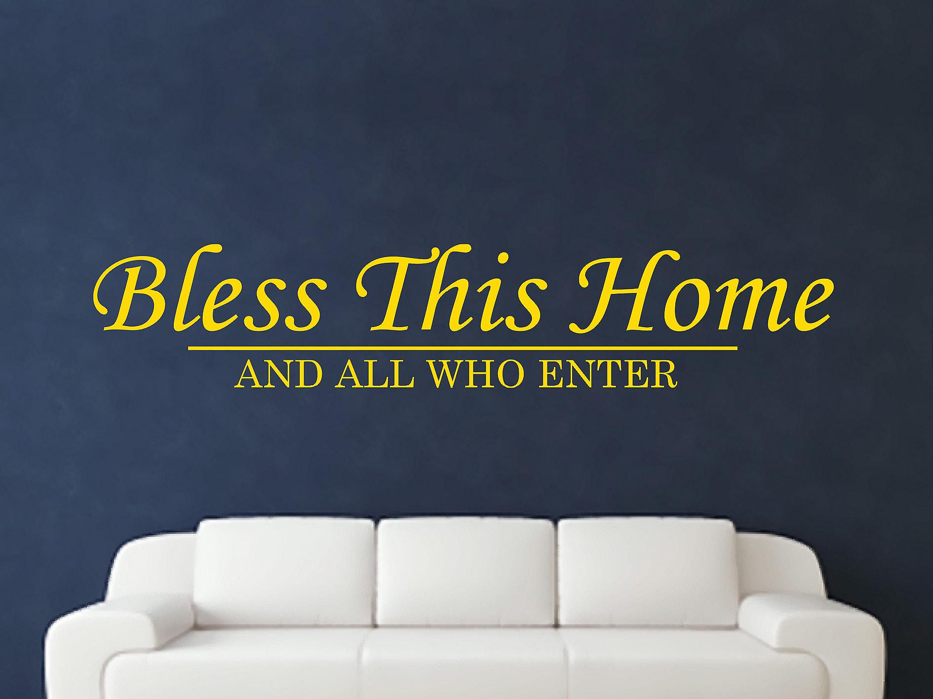 Bless This Home Wall Art Sticker - Dark Yellow