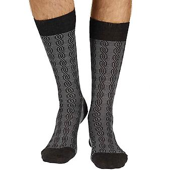 Camley men's merino wool dress socks in charcoal | By Pantherella