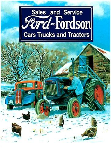 Ford & Fordson in snow metal sign  (og 2015)