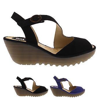 Womens Fly London Yamp Cupido Peep Toe Strappy Cut Out Wedge Heel Sandals