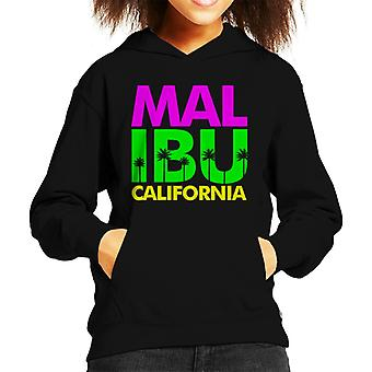 Malibu Retro Colour Text Kid's Hooded Sweatshirt