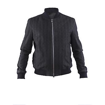 Corneliani Black Leather Outerwear Jacket