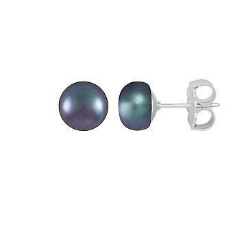 Eternal Collection Freshwater AA Peacock Button Pearl Sterling Silver Stud Pierced Earrings