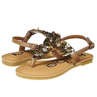 Bebe meninas Big Kid verão Flat slingback sandálias T cinta tanga sapatos com flores