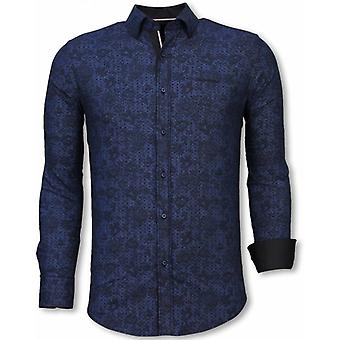 Camisas-Slim Fit italiano camisa-Paisley padrão-blusa azul