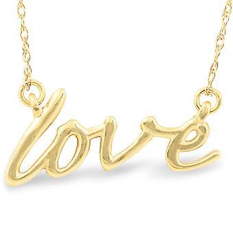14K Gelb Gold Liebe Skript Anhänger Halskette mit 18