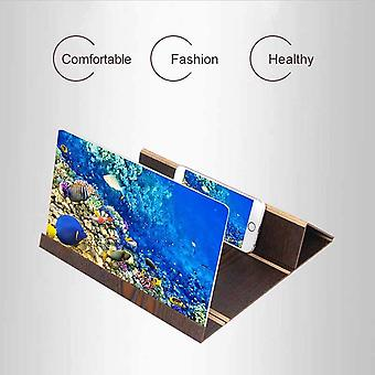 3D Phone Screen Magnifier Amplifier Foldable Wooden Stand Holder For Apple iPhone 6s 4.7'' (Brown)