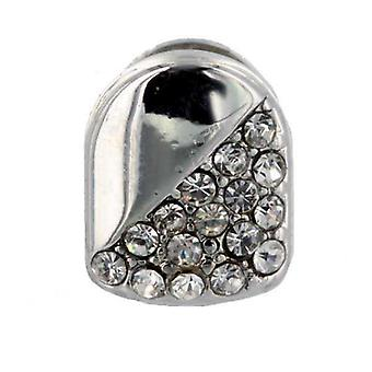 One Tooth Iced Out 50/50 Silver Tooth Cap