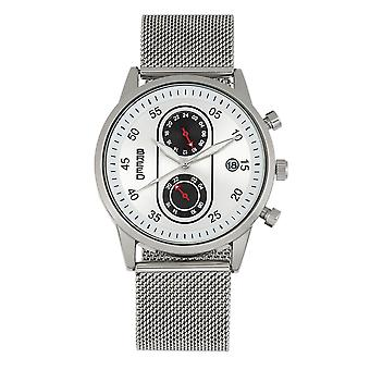 Breed Andreas Mesh-Bracelet Watch w/ Date - Silver