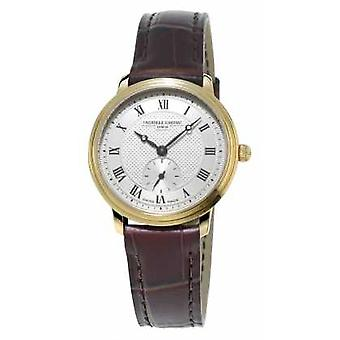 Frederique Constant Slimline Womens Ultra Slim Gold Plated Leather Strap FC-235M1S5 Watch
