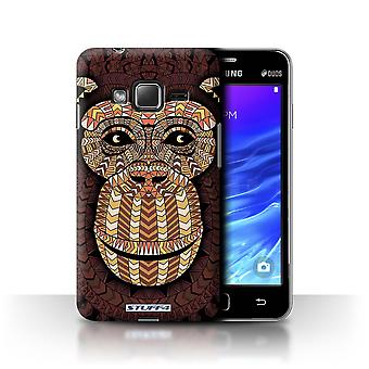 STUFF4 Case/Cover for Samsung Z1/Z130/Monkey-Orange/Aztec Animal