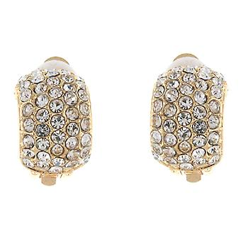 Clip On Earrings Store Gold and Five Row Crystal Semi Hoop Clip On Earrings