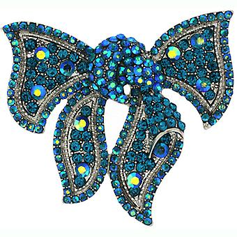 Brooches Store Silver and Aqua Blue AB Crystal Bow Corsage Brooch