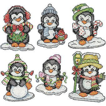 Penguins On Ice Ornaments Counted Cross Stitch Kit-3.5