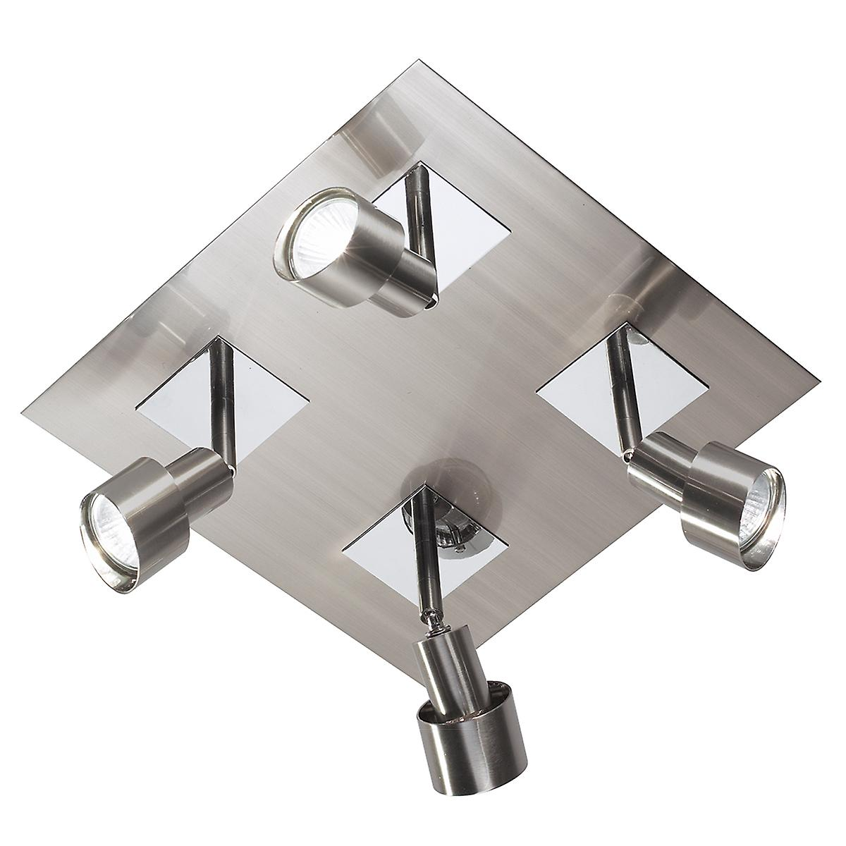 Dar FUT8546 Futura 4 Light Halogen Ceiling Spotlight Plate In Satin Chrome