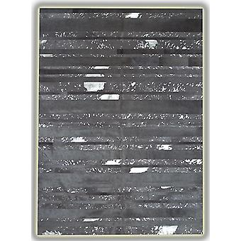Rugs - Patchwork Leather Striped Cowhide - Grey Acid Silver Stripes