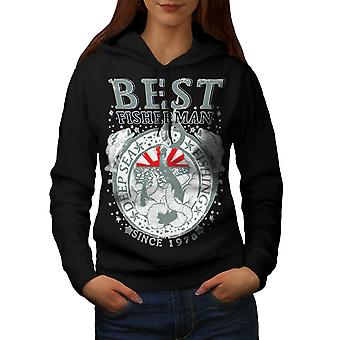 Wellcoda | Best Fishermen Deep Sea Fishing  Womens Black Hoodie