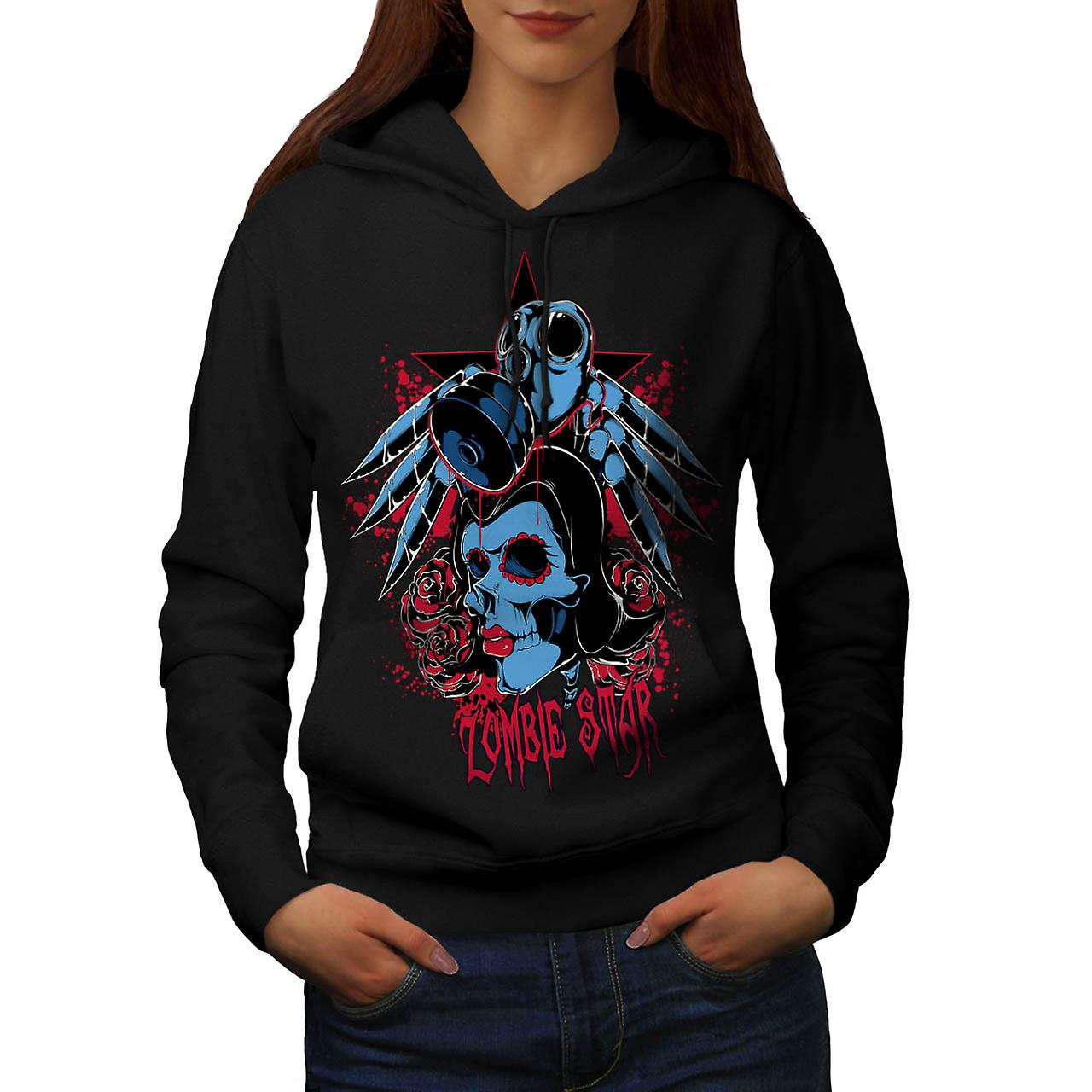 Star Sugar Skull Zombie Nightmare Women Black Hoodie | Wellcoda