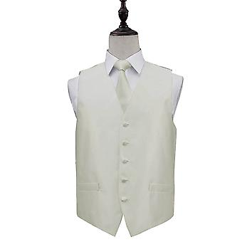 Solid Check Ivory Wedding Waistcoat & Tie Set