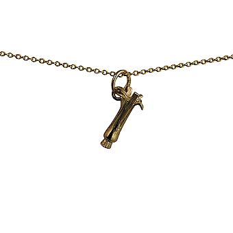 9ct Gold 15x8mm Welsh Leek Pendant with a cable Chain 16 inches Only Suitable for Children