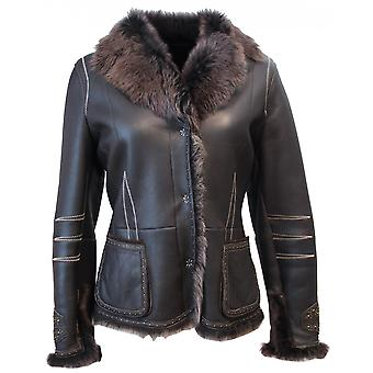 Majella - lambskin Shearling leather jacket Toscana collar Biker jacket rivets ladies