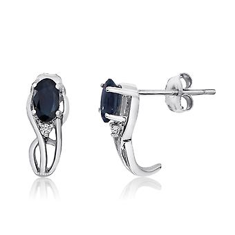 14K White Gold Curved Sapphire and Diamond Earrings