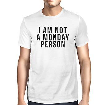 Divertidos declaración audaz gráfico blanco camiseta hombres - no soy una persona de lunes
